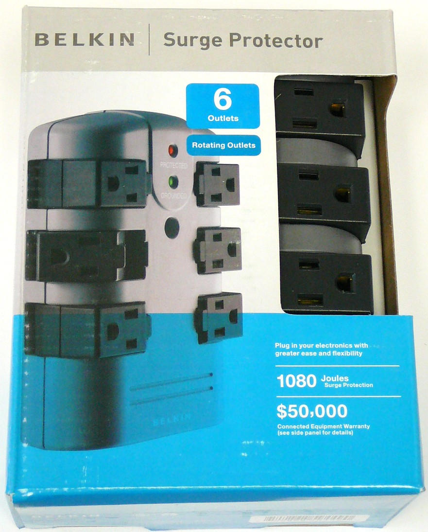 BELKIN BP106000 6-Outlet Pivot-Plug Power Surge Protector, Great for ...